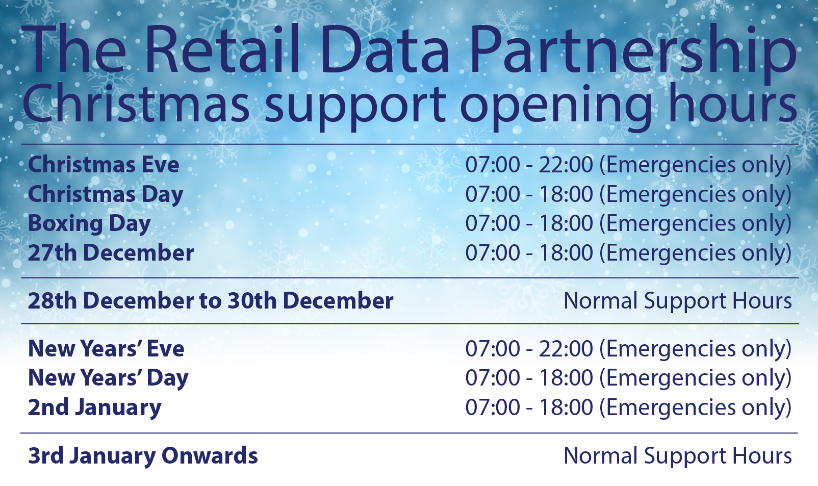 Christmas Support Opening Times